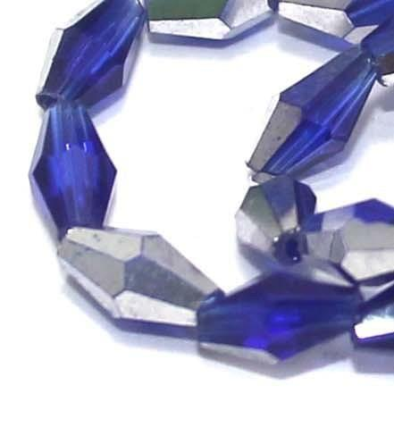 Crystal Faceted Double Cone Beads Half Metallic Blue 6x3mm , Pack of 65+ Beads