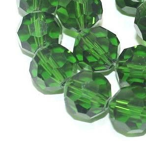 50+ Crystal Faceted Football Beads Trans Dark Green 8mm