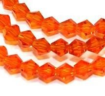Crystal Faceted Bicone Beads Trans Orange, size 4mm , Pack of 100 pcs
