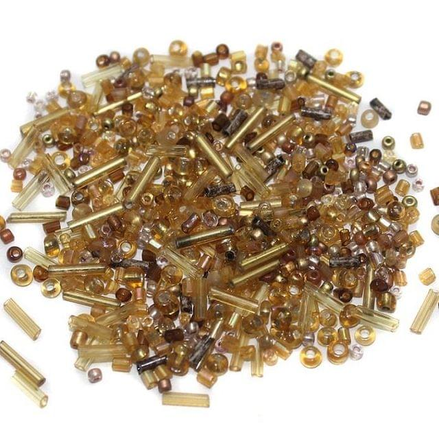 Seed Beads Brown Assorted (100 Gm), Size 11/0