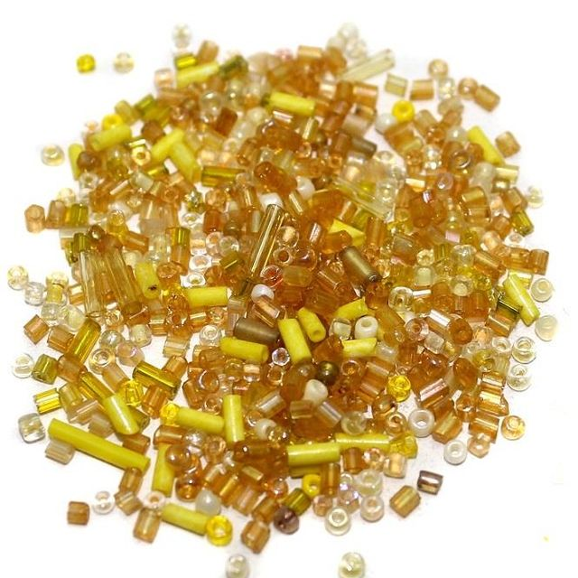 Seed Bugles Beads Yellow Assorted (100 Gm), Size 11/0
