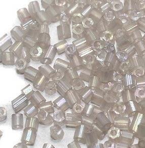 Cut Seed Bugles Beads White Smoke Rainbow (100 Gm), Size 11/0