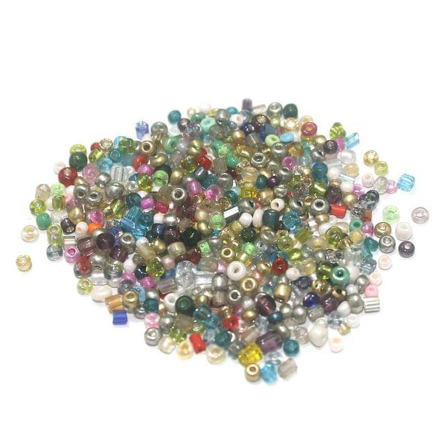 100 Gm Seed Beads Mix Multi-Color, Size 11/0