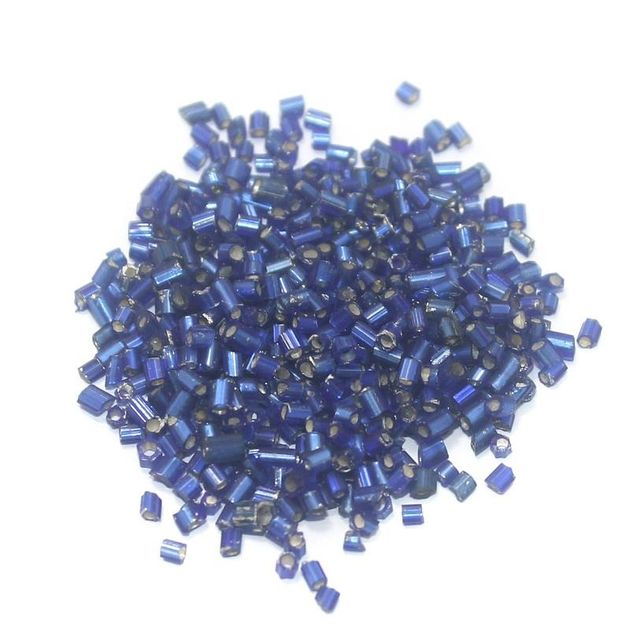 100 Gm 2 Cut Seed Beads Silver Line Blue, Size 11/0