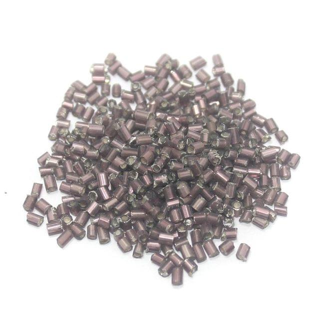 100 Gm 2 Cut Seed Beads Silver Line Purple, Size 11/0