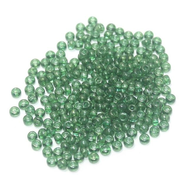 100 Gm Seed Beads Trans Green, Size 8/0