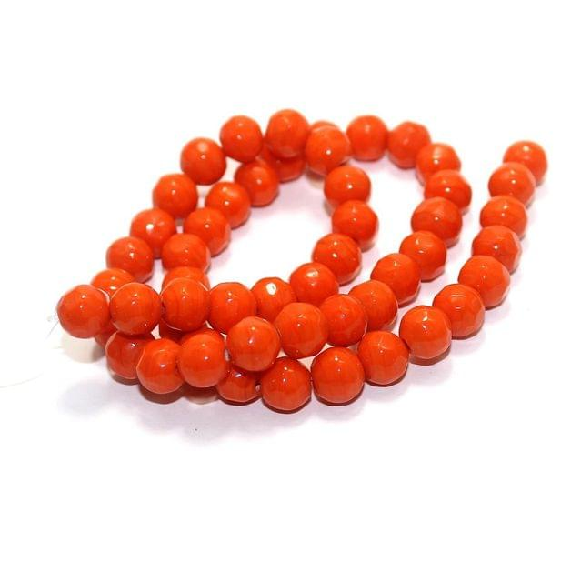 50+ Faceted Glass Round Beads Orange 8mm