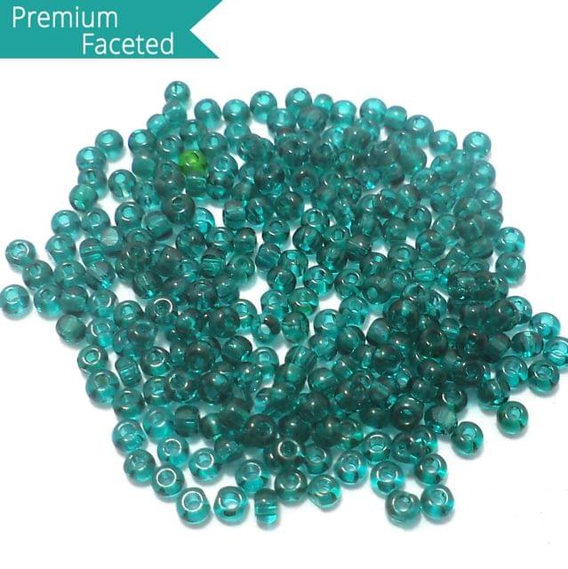 500 Gm Faceted Seed Beads Trans Teal 11/0 (2mm)