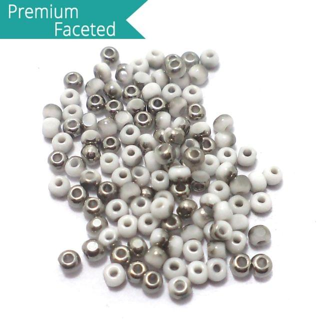 500 Gm Faceted Seed Beads Metallic Silver & White 11/0 (2mm)