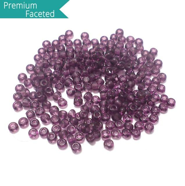 500 Gm Faceted Seed Beads Trans Purple 11/0 (2mm)
