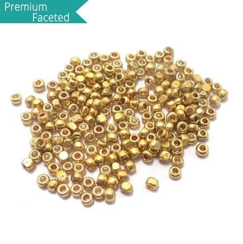 500 Gm Faceted Seed Beads Metallic Golden 11/0 (2mm)