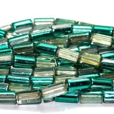 5 Strings Half Metallic Tube Beads Teal 10x6 mm