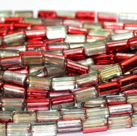5 Strings Half Metallic Tube Beads Red 10x6 mm