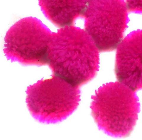 100 Pom Pom Round Beads Magenta 15 mm