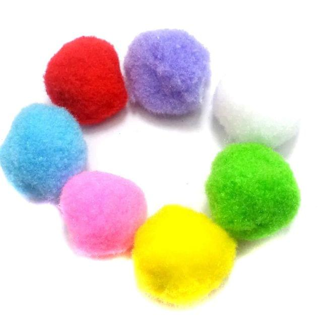 25 Pom Pom Beads Assorted 30 mm