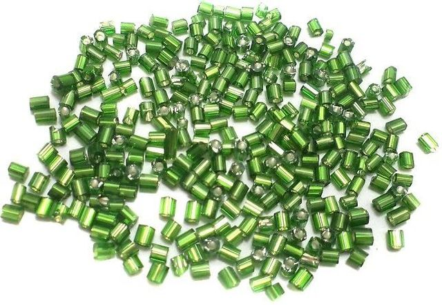 100 Gm 2 Cut Glass Seed Beads Silver Line Green, Size 11/0
