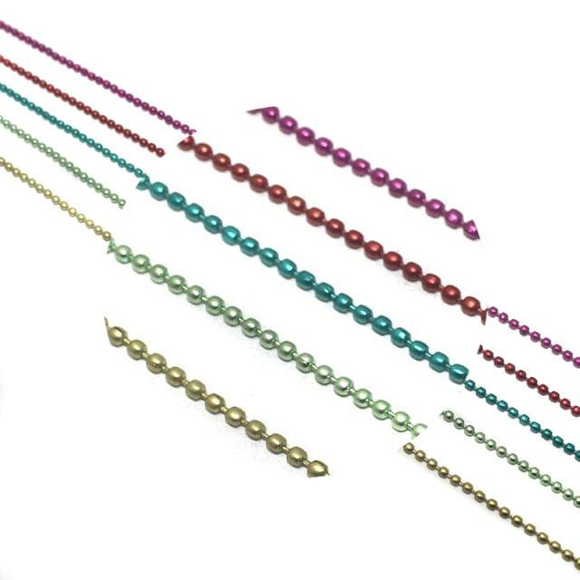 Metal Color Ball Chain For Silk Thread Jewellery Making 5 Colors Combo 2mm , Each Color 1 Mtr