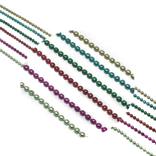 Metal Color Ball Chain For Silk Thread Jewellery Making 6 Colors Combo 2mm , Each Color 1 Mtr