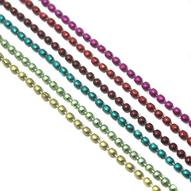 Metal Color Ball Chain For Silk Thread Jewellery Making 6 Colors Combo 2mm , Each 1 Mtr