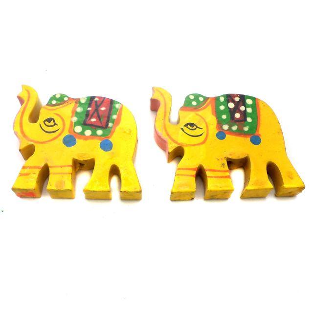 25 Pcs. Wooden Elaphant Beads Yellow 1.5x1.25 Inch