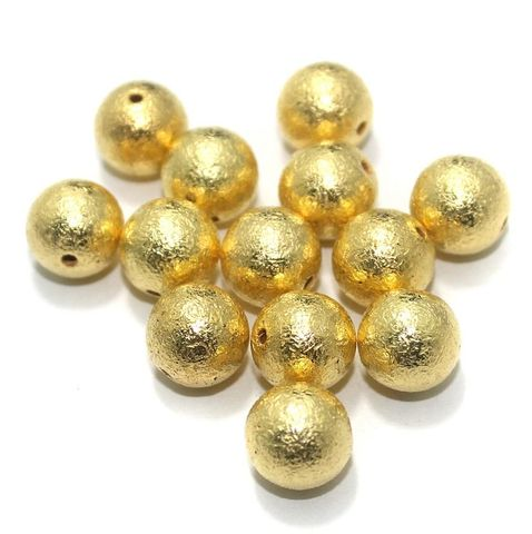 100 Gm CCB Round Beads Golden 8 mm