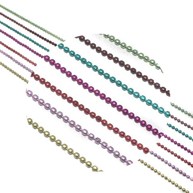 Metal Color Ball Chain For Silk Thread Jewellery Making 7 Colors Combo 2mm , Each Color 1 Mtr