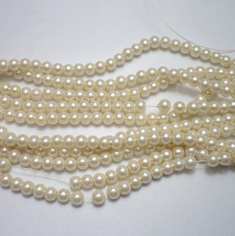 60+ Glass Pearl Round Beads Off White 6 mm