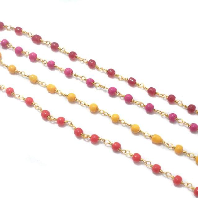 Jewellery Making Glass Beads Chain Combo For Jewellery Making 4 Color (1 Mtr Each Color)