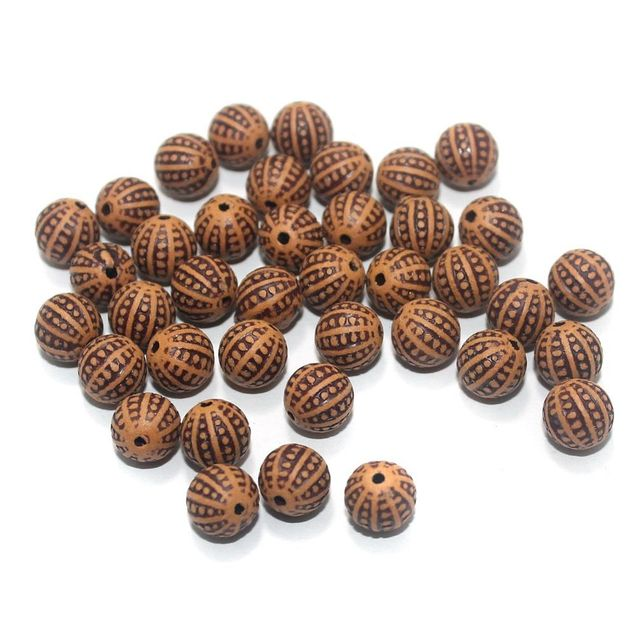 100 Gm Acrylic Wooden Finish Round Beads Brown 8 mm