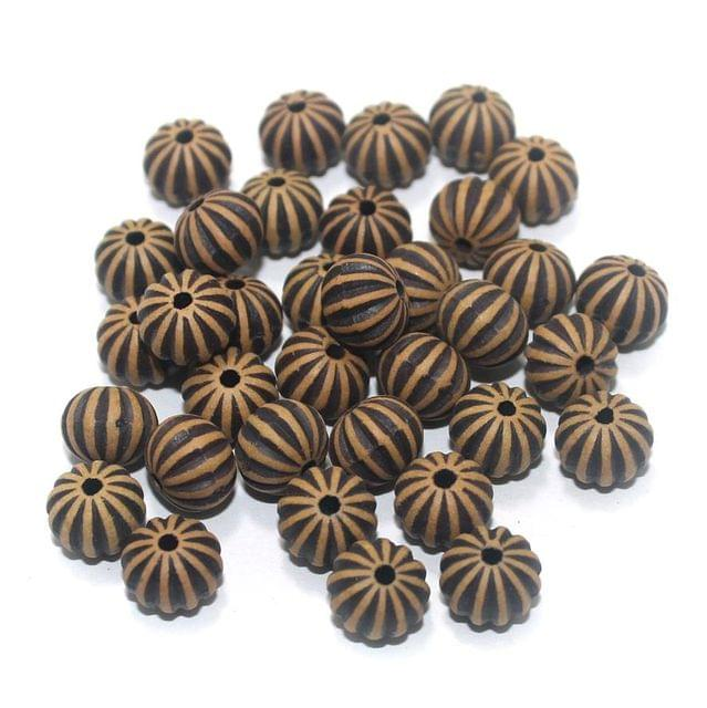 100 Gm Acrylic Wooden Finish Kharbooja Round Beads Brown 9x7 mm
