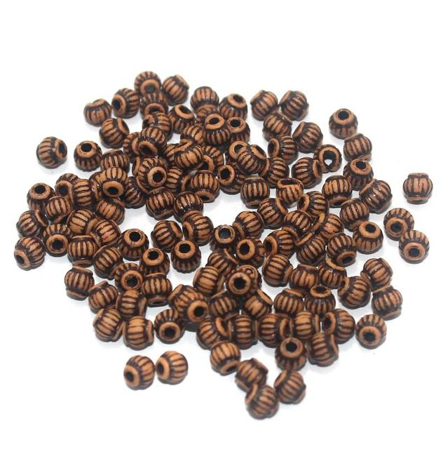 100 Gm Acrylic Wooden Finish Beads Brown 4 mm