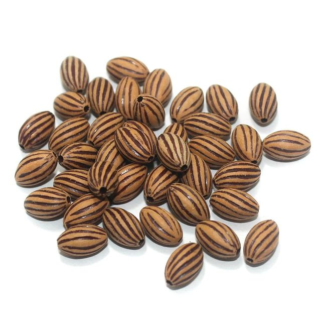 100 Gm Acrylic Wooden Finish Line Oval Beads Brown 11x7 mm