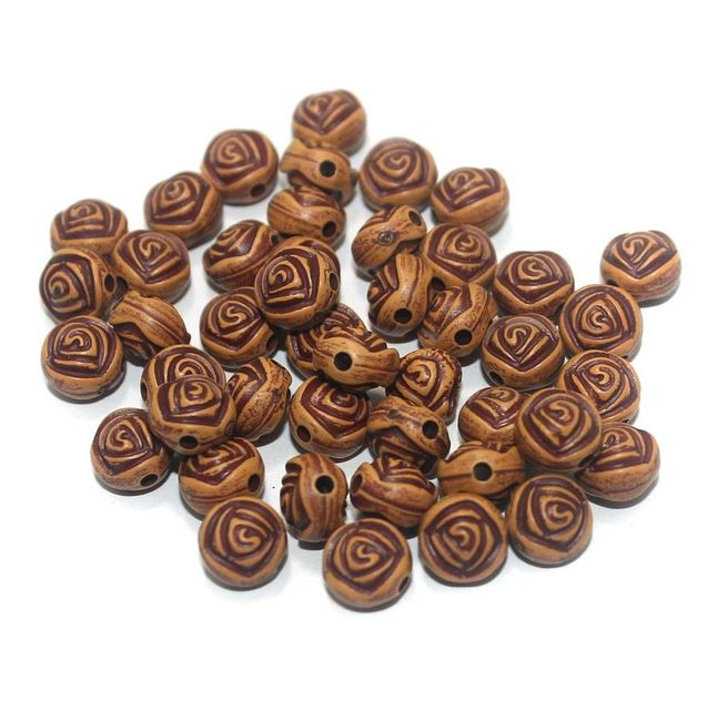 100 Gm Acrylic Wooden Finish Flower Round Beads Brown 8x6 mm