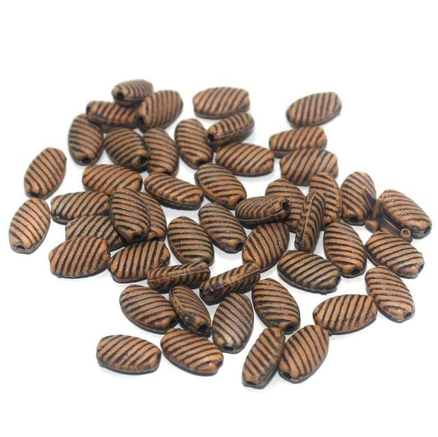 100 Gm Acrylic Wooden Finish Flat Oval Beads Brown 9x6 mm