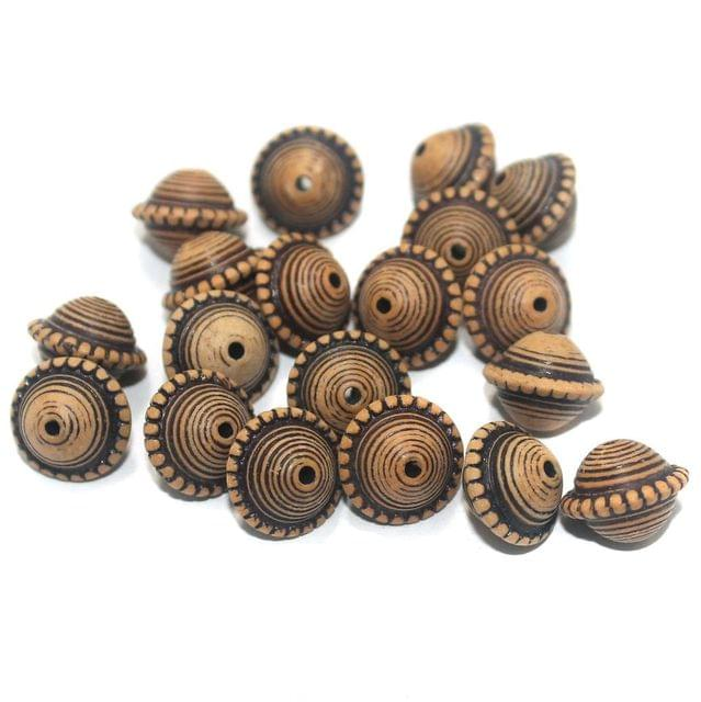 100 Gm Acrylic Wooden Finish Roundell Brown Beads 12x9 mm