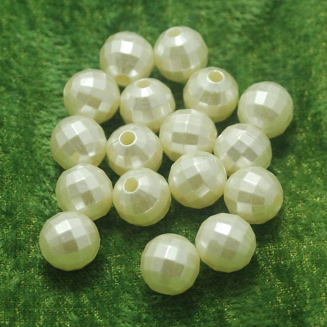 100 Gm Acrylic Pearl Crystal Round Beads Off White 10 mm