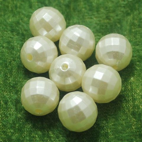100 Gm Acrylic Pearl Crystal Round Beads Off White 14 mm