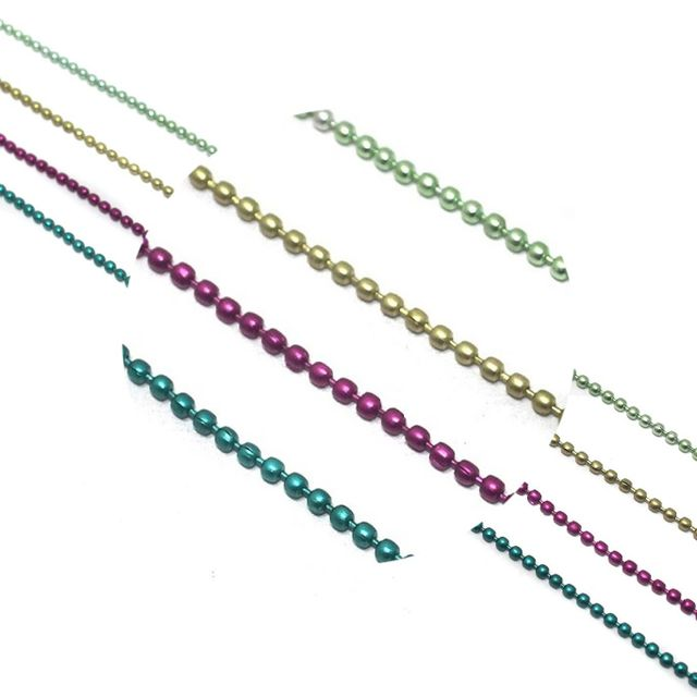 Metal Color Ball Chain For Silk Thread Jewellery Making 4 Colors Combo 2 , Each Color 1 Mtr