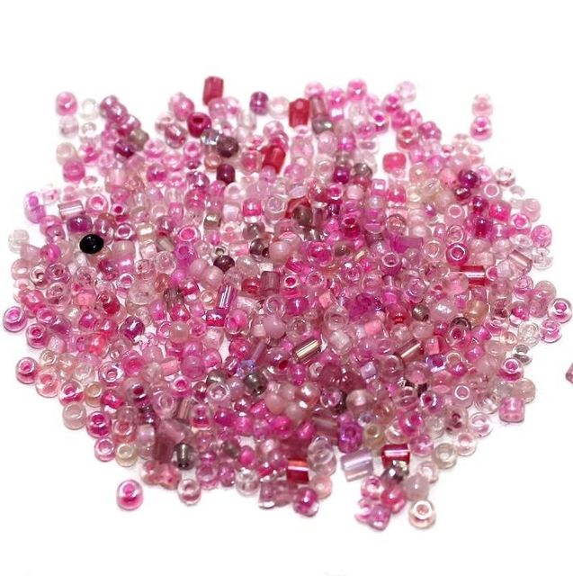 Seed Beads Pink Assorted (100 Gm), Size 11/0