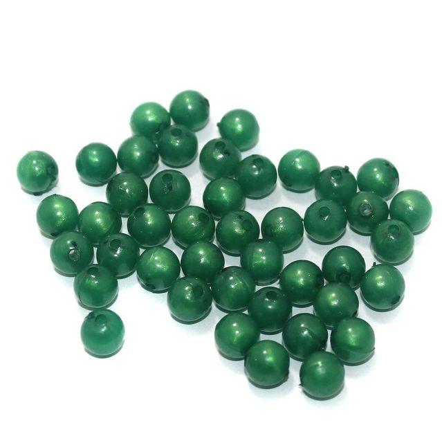 100 Gm Acrylic Round Beads Green 8 mm
