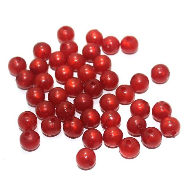 100 Gm Acrylic Round Beads Red 8 mm