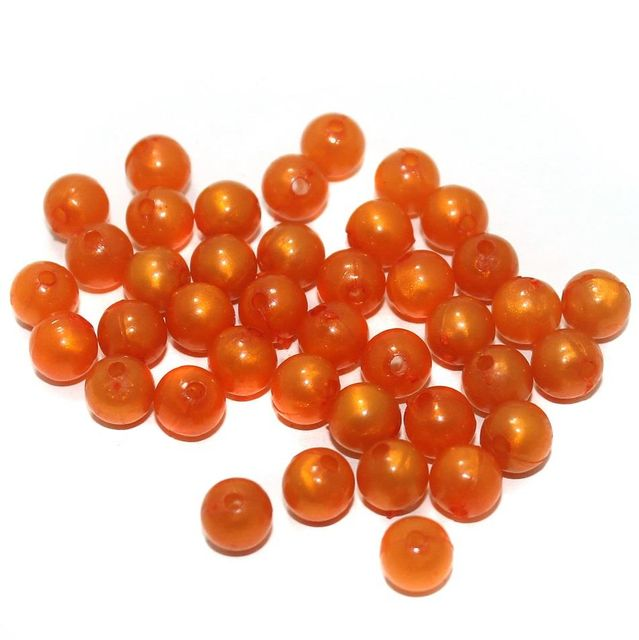 100 Gm Acrylic Round Beads Orange 8 mm