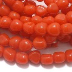 String Glass Tumbled Beads Orange 10 mm