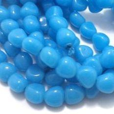 1 String Glass Tumbled Beads Sky Blue 10 mm
