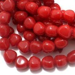 1 String Glass Tumbled Beads Red 10 mm