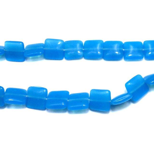 1 String Blue Fire Polish Square Beads Sky Blue 15 mm