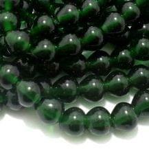 1 String Glass Drop Beads Green 10 mm