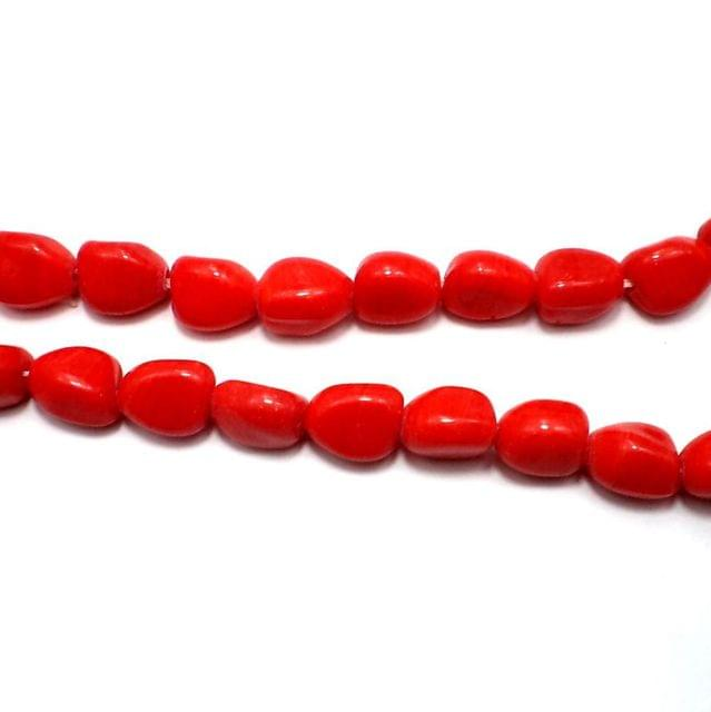 5 Strings Fire Polish Tumble Beads Red 14x10mm