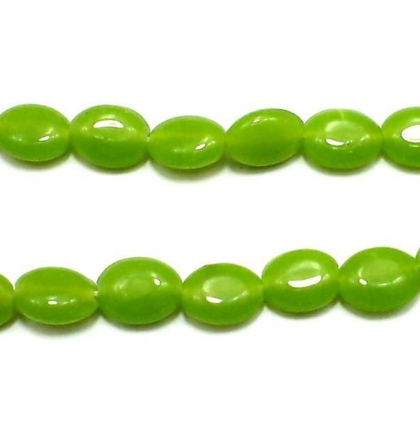 5 Strings Fire Polish Oval Beads Peridot 12x8mm