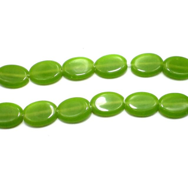 5 Strings Fire Polish Oval Beads Peridot 22x17mm